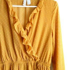 🔥H&M Ruffled Long Sleeve Midi Dress - Gold🔥
